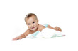 smiling baby child with diapers isolated over white
