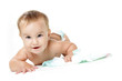 happy baby child with diapers isolated over white