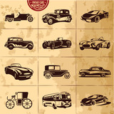 vintage cars collection premium quality vecor