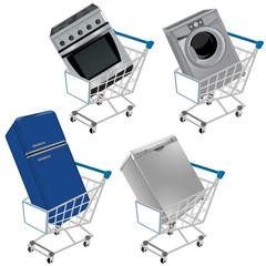 Carrito de la compra con electrodomésticos
