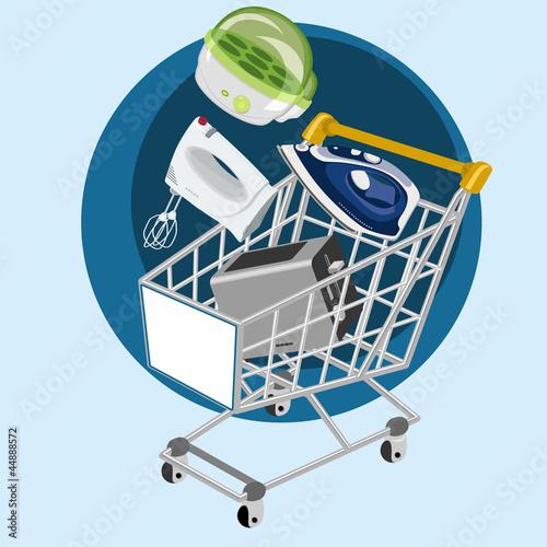 Carrito de la compra con pequeños electrodomésticos