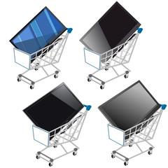 Carrito de la compra con televisión pantalla plana