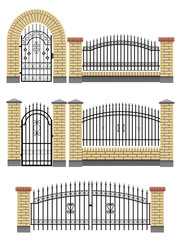 Gate and fences with brick columns and metal lattice.