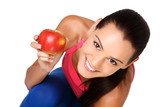 happy brunette teenager with apple on white background