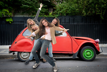 Girls having fun on the road