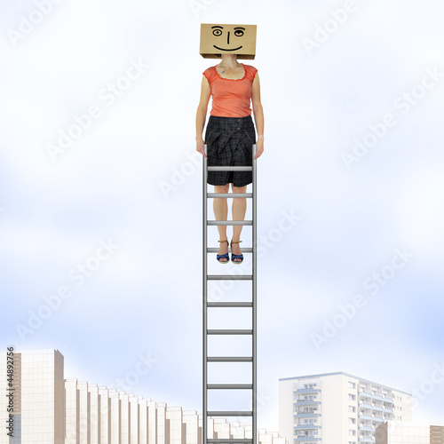 Woman with cardboard on the head is on the ladder