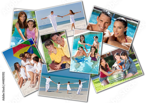 Happy Mother Father & Children Family Beach Park Home