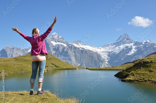 Traveler against Swiss Alps