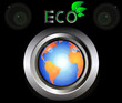 eco Green Earth Planet on metal button black background