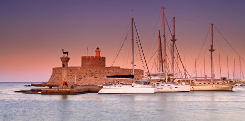 Rhodes Greece at sunset