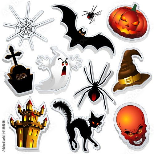 Halloween Stickers Symbols Cartoon Simboli Halloween Adesivi