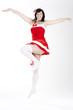 springende Weihnachtsfrau
