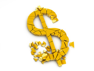 Broken Dollar Sign With Clipping Path