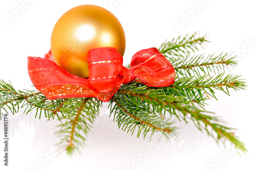 weihnachtskugel mit tannenzweig von blumenkind lizenzfreies foto 44895774 auf. Black Bedroom Furniture Sets. Home Design Ideas