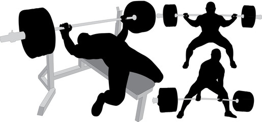 Powerlifting, weightlifting or bodybuilding silhouettes