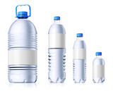 Group of plastic bottles with water. Isolatedon white.