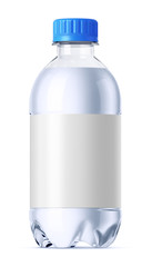 Small plastic bottle of water. Isolated on white.