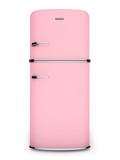 Retro pink refrigerator. Front view