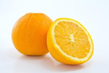 Ripe orange on white background