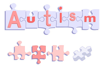 AUTISM title on Puzzle pieces