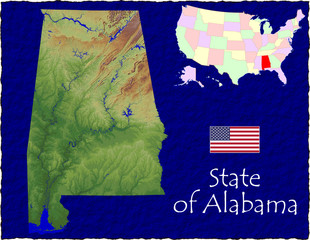 USA state Alabama enlarged map flag background