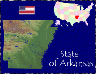 USA state Arkansas enlarged map flag background