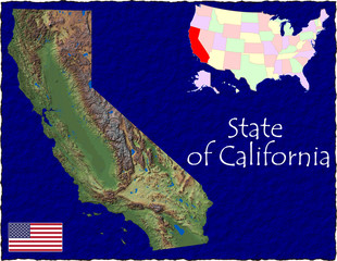 USA state california enlarged map flag background