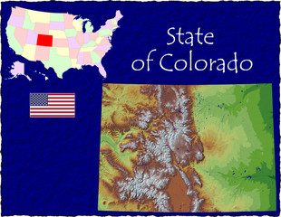 USA state Colorado enlarged map flag background