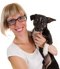 Young woman and small cute dog
