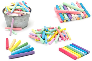 Set of colorful pieces of chalk isolated on white