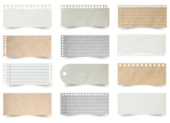 Collection of various note papers isolated on white