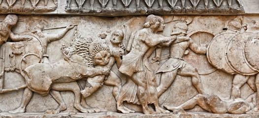 Battle in greek pediment sculpture