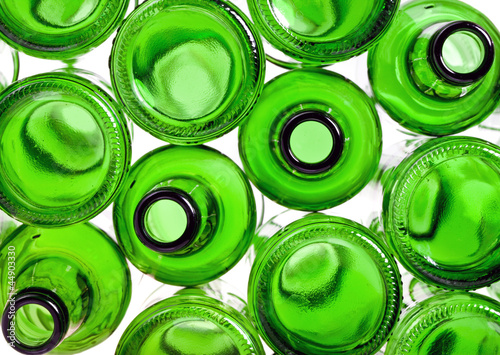 Empty glass green bottles