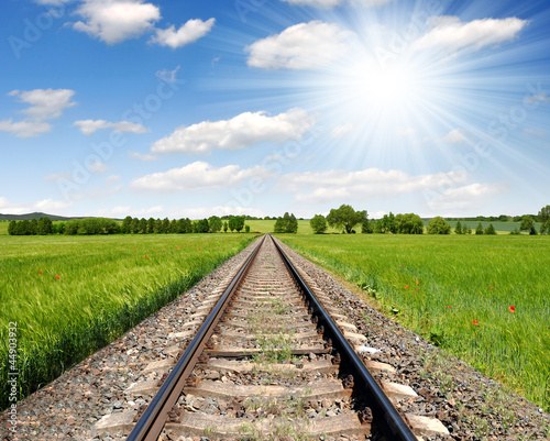 railway in spring landscape