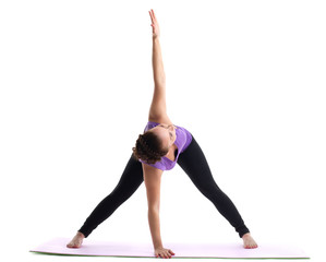 young woman yoga instructor demonstrate asana