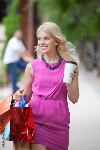 Shopaholic Woman With Disposable Coffee Cup