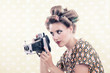 Woman holding Vintage 4x6 Film Camera