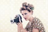 Woman holding Vintage 4x6 Film Camera