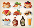 Classic breakfast cartoon set with pancakes, toasts and waffles