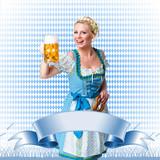 junge blonde Frau in Trachtenmode - Banner mit Textfreiraum