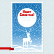 Vector Christmas card with white stylized deer.