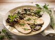 chicken fillet with sauteed mushroom, selective focus