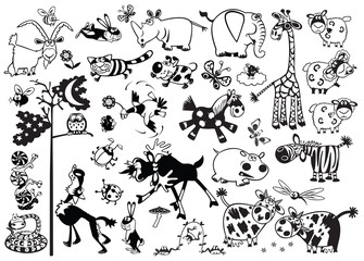 black and white set  with cartoon childish animals