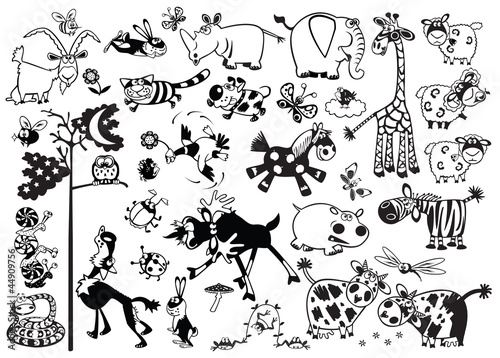 black and white set  with cartoon childish animals