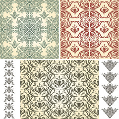 2 Vector Seamless Vintage Floral Patternsand 2 Retro Brushes