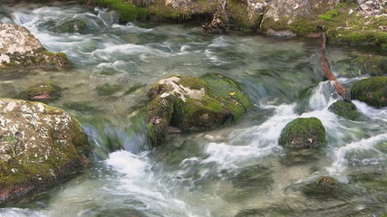 Rapid mountain river, with small waterfalls.