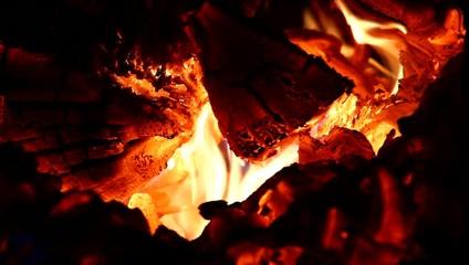 Almost white fire in boiler.