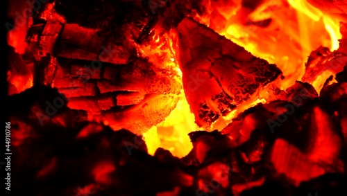 Red, hot fire in boiler burning.