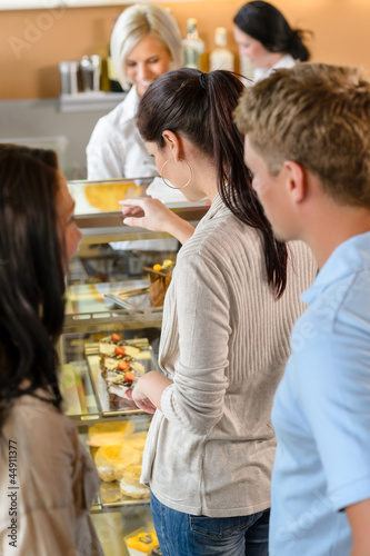 Customers waiting in line to buy dessert