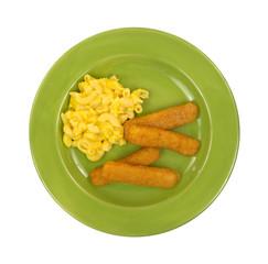Macaroni and cheese with fish sticks